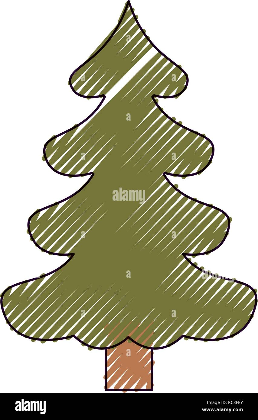 christmas tree pine with trunk on color crayon silhouette on white ...