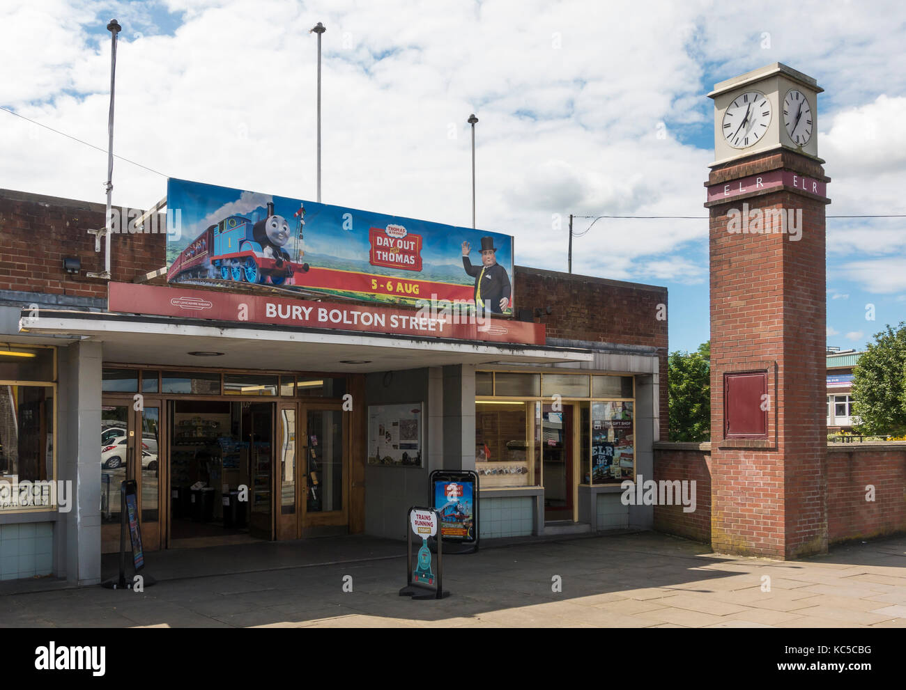 Entrance to Bolton Street Train Station in Bury, England. - Stock Image