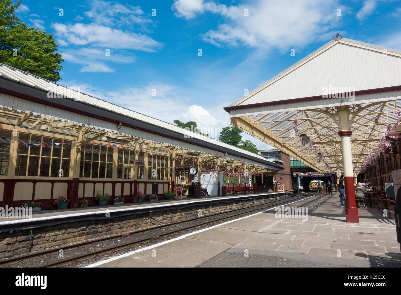 Railway Platform at Bolton Street Station, Bury on the East Lancashire Railway - Stock Image