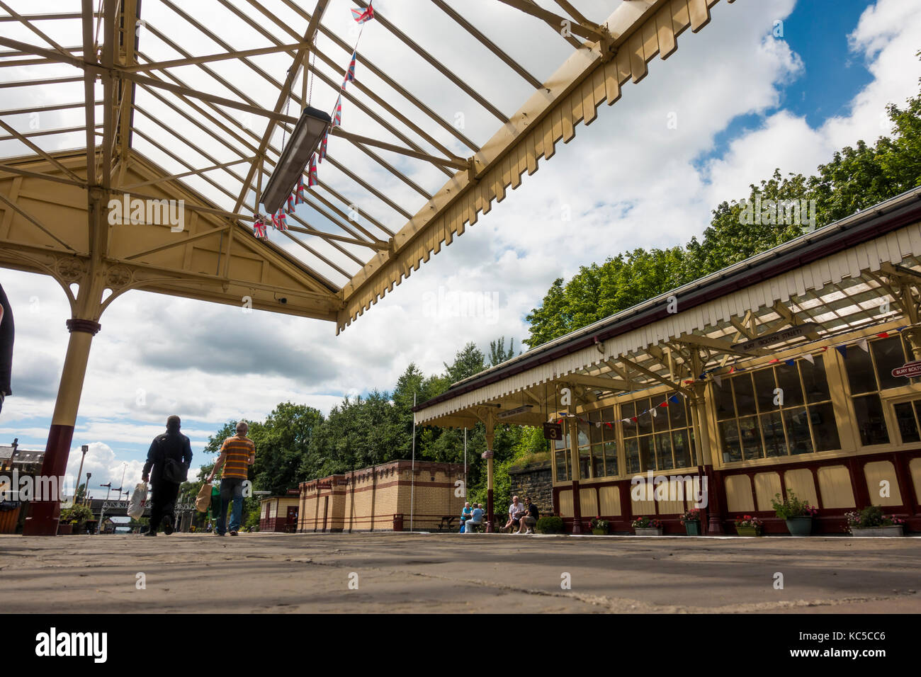 Railway Platform at Bolton Street Station, Bury on the East Lancashire Railway - Stock Image