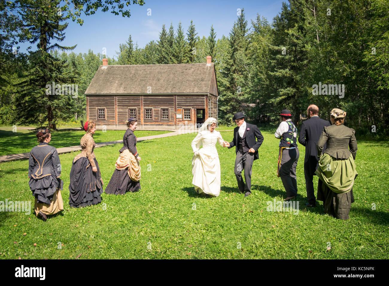 Period actors re-enact a traditional 19th century Métis wedding dance at Fort Edmonton Park in Edmonton, Alberta, - Stock Image