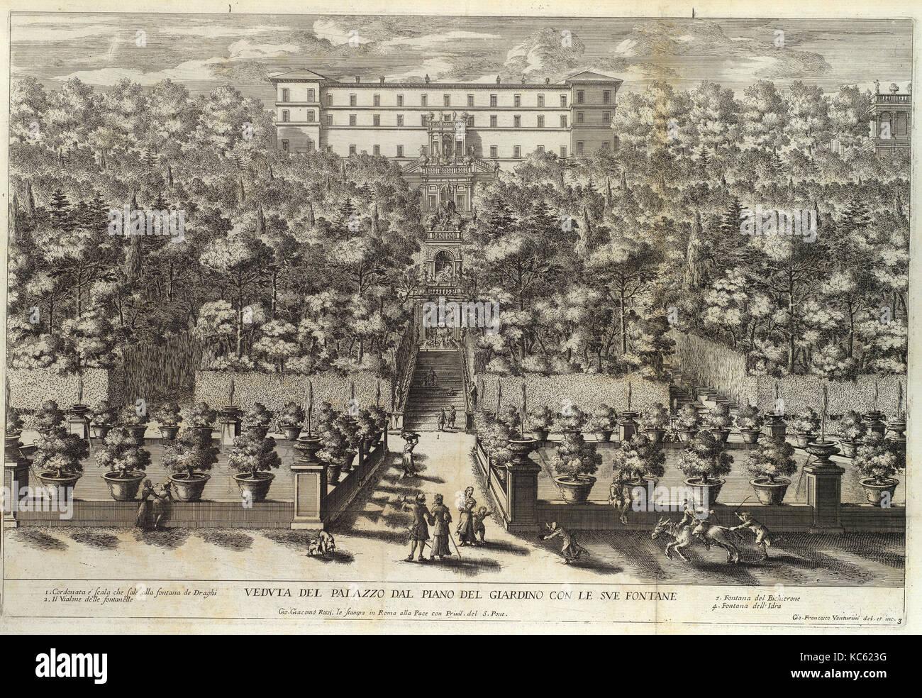 Le Fontane del Giardino Estense in Tivoli con li Loro Prospetti, e Vedute della Cascata del Fiume Aniene, 1691 or - Stock Image