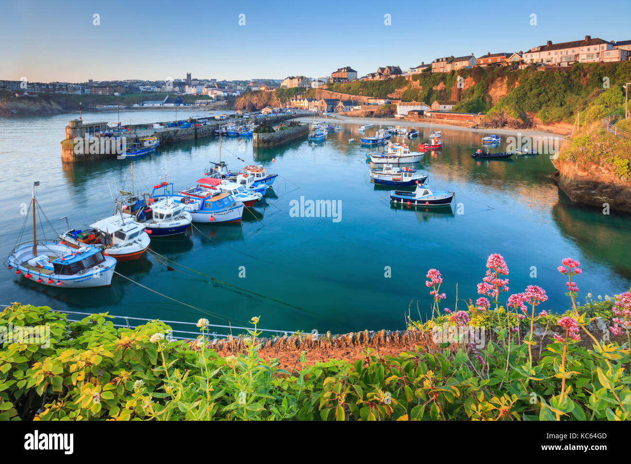 Newquay Harbour captured on a still morning, - Stock Image