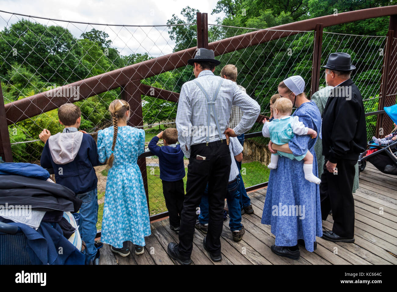 Washington DC District of Columbia National Zoo Mennonite family traditional dress father mother children - Stock Image