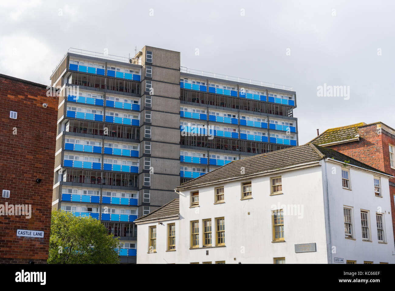 Contrasting architecture along Castle Lane in 2017, Southampton, England, UK - Stock Image