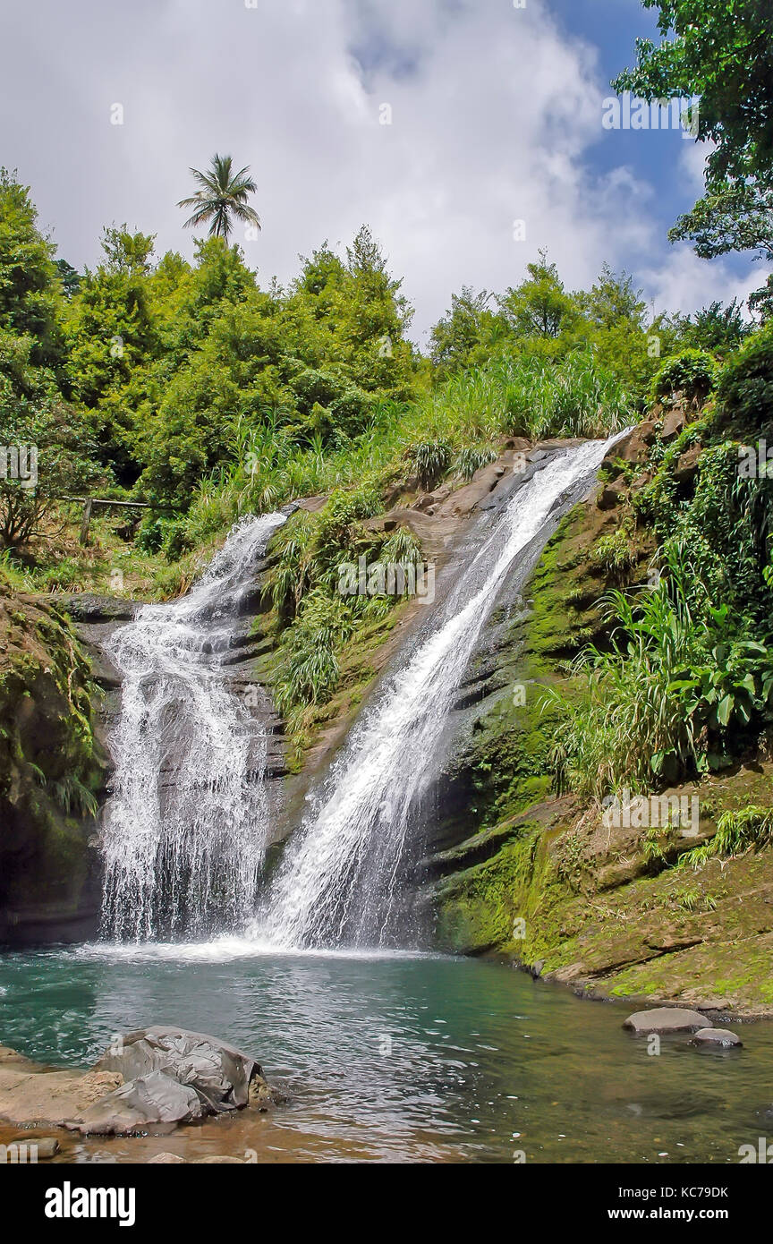 First waterfall cascades for 35 feet at Concord Falls, Gouyave, Grenada. - Stock Image