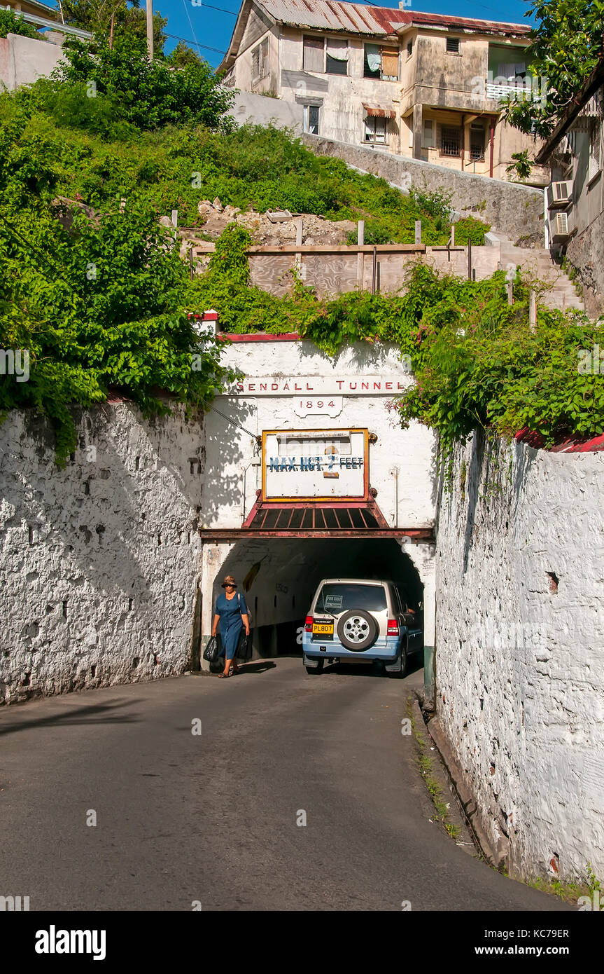 Sendall Tunnel traffic tunnel and pedestrian walkway connects two section of St. George's city Grenada - Stock Image