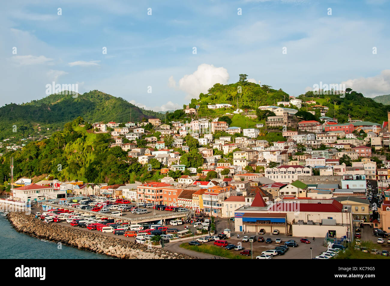 Above looking down on Melville Street near St. George's cruise terminal Grenada, - Stock Image