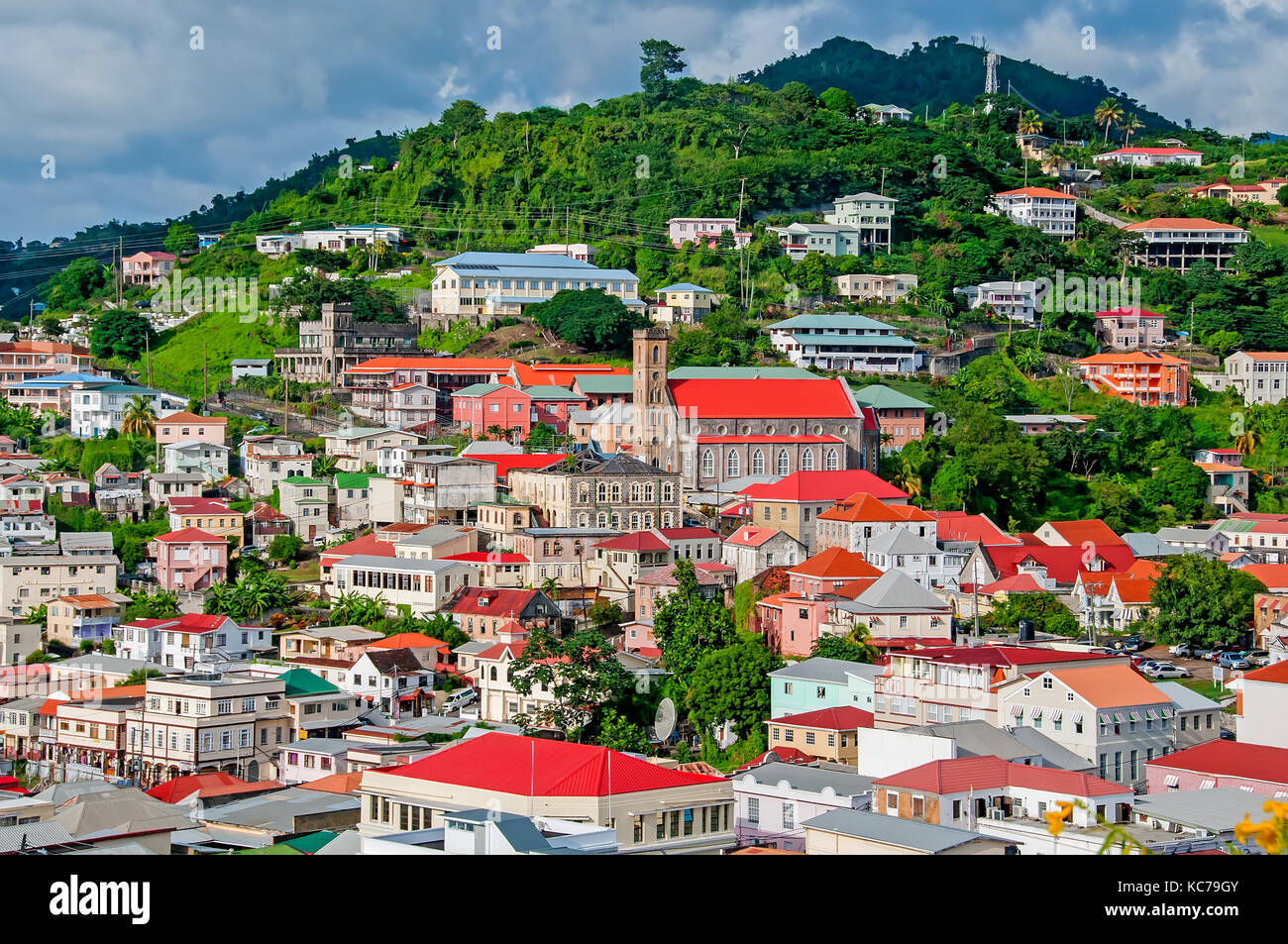 Colorful buildings and architecture of St. George's, Grenada - Stock Image