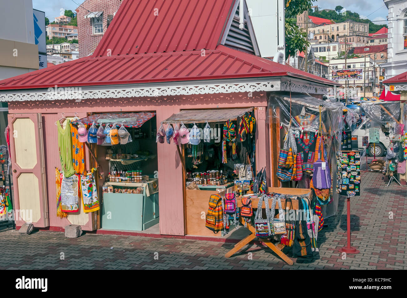 Colorful souvenir shop near St. George's market square, Grenada and the Grenadines, - Stock Image