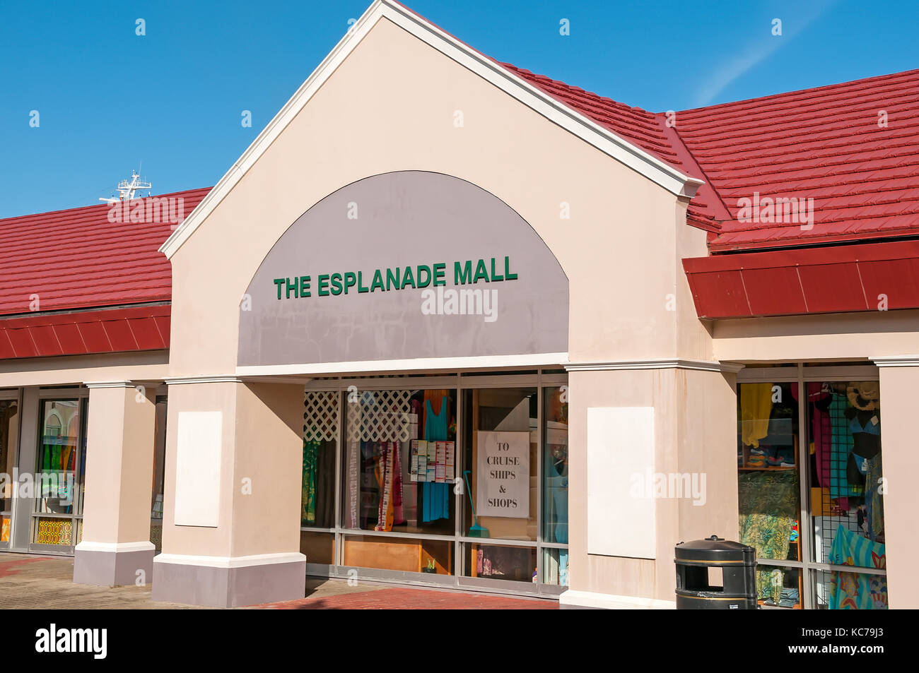 Esplande Mall at  Melville Street cruise terminal St George's Grenada and the Grenadines - Stock Image