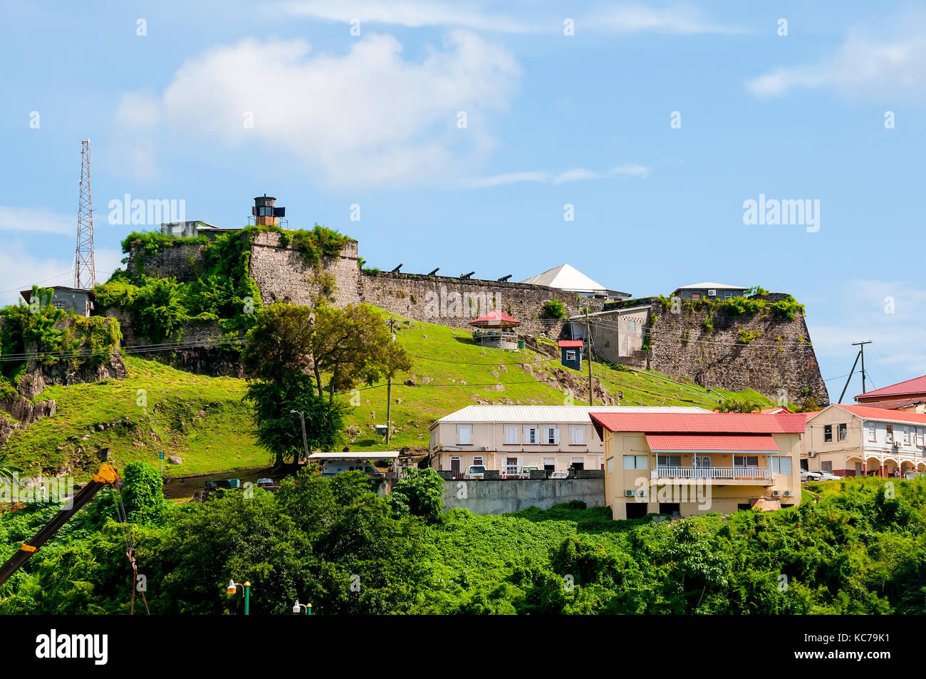 Historic Fort George a star-shaped masonry fort built 1705-1710 sits above harbor at St. George's Grenada - Stock Image