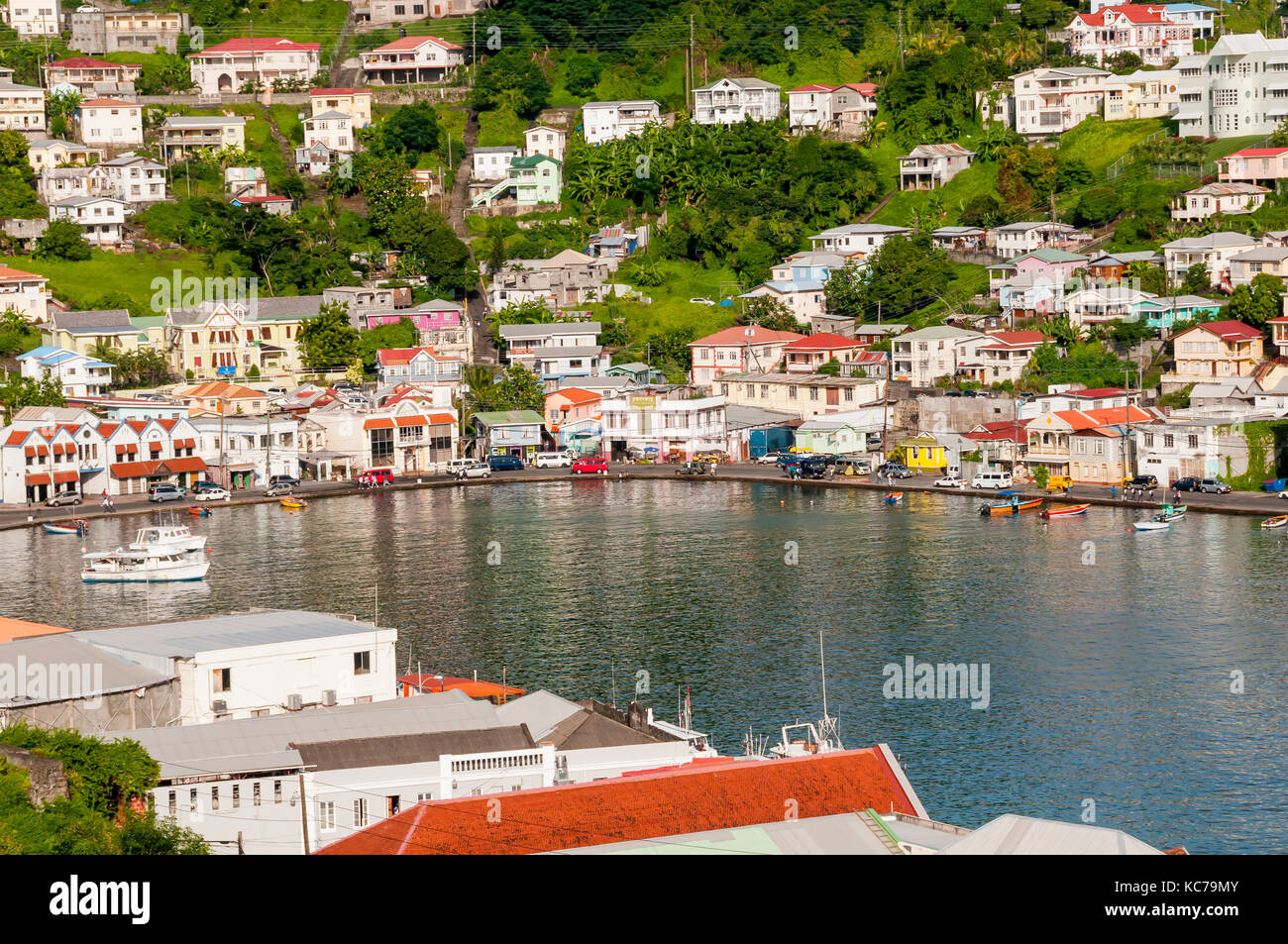 Overview above St. George's Harbor surrouned by colorful buildings, Grenada - Stock Image