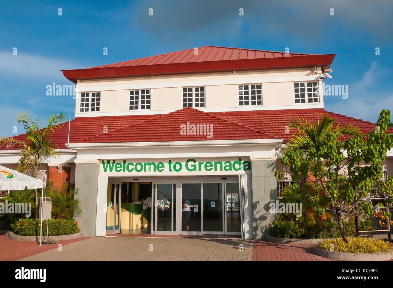 Welcome to Grenada sign at St. George's cruise terminal, Melivlle Street Grenada - Stock Image