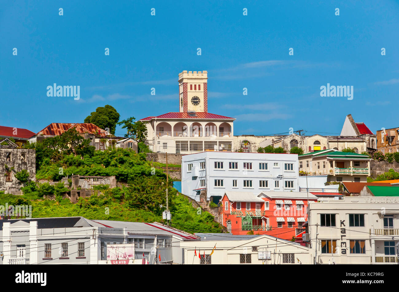 Buildings of St. George's Grenada built on the side of an old vocano, Grenada and Grenadines - Stock Image