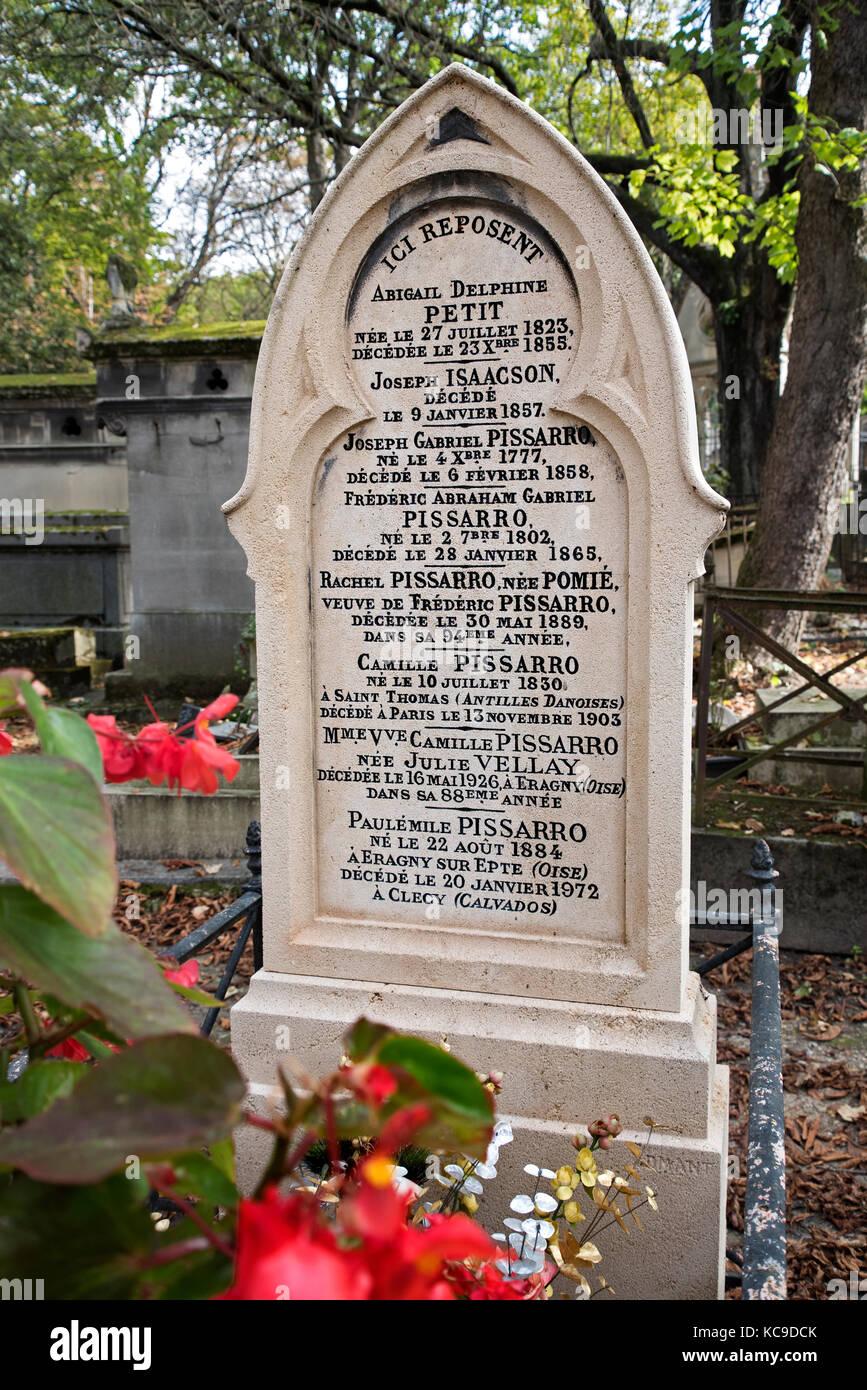 The grave of Camille Pissarro (1830-1903) in Pere Lachaise cemetery, Paris, France. - Stock Image