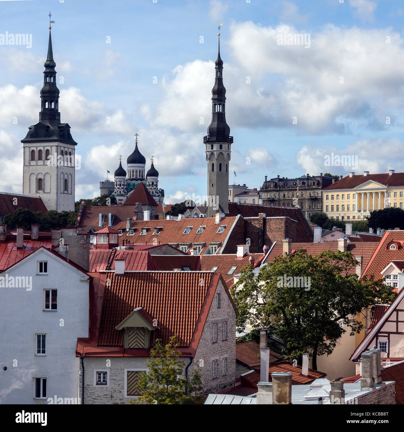 Skyline of Tallinn in Estonia. The three churches are - St Nicholas Church, Alexander Nevsky Cathedral and the Church - Stock Image