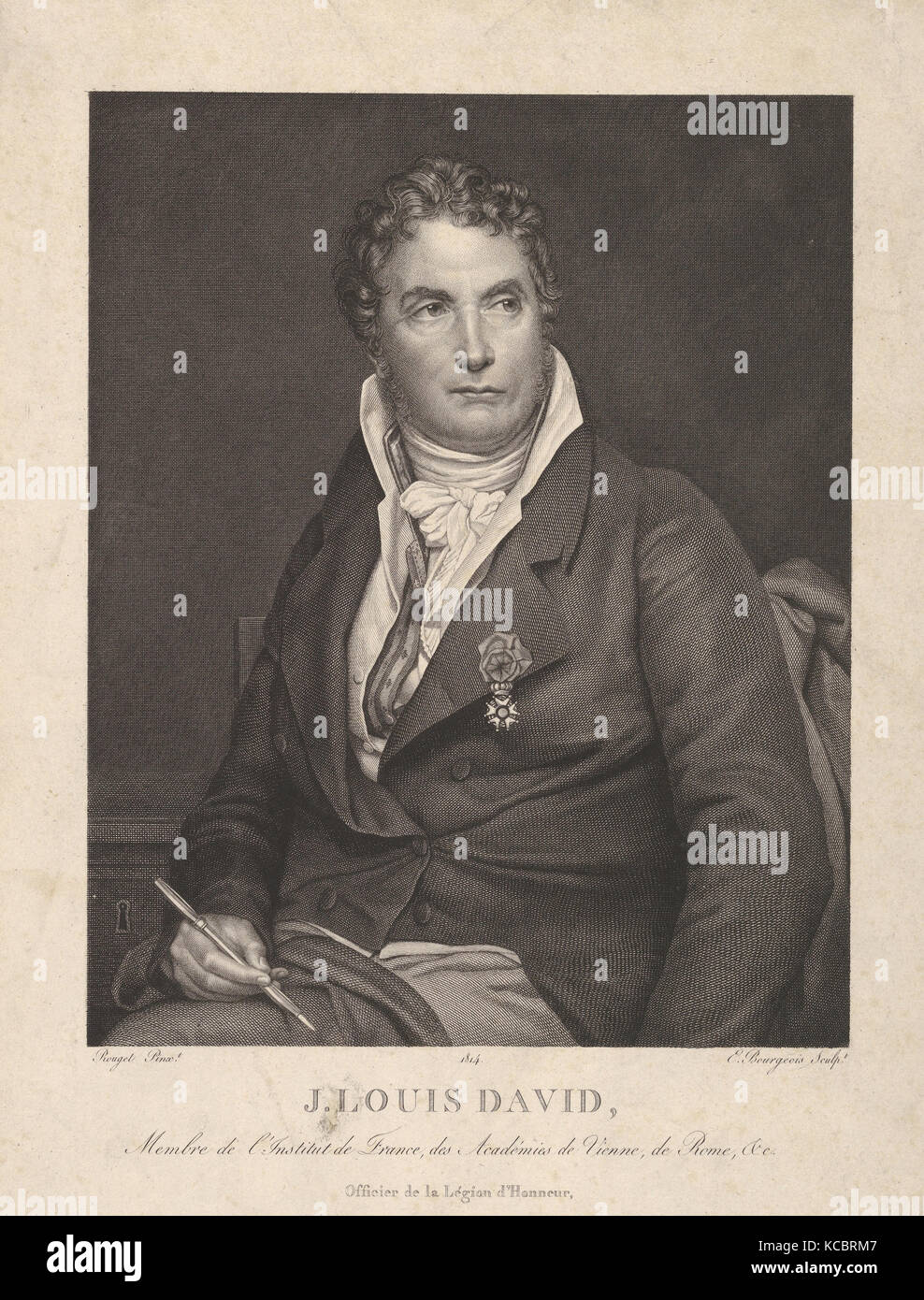 Portrait of J. Louis David, 1814, Engraving, sheet: 13 x 9 1/4 in. (33 x 23.5 cm), Prints, Eugène Bourgeois - Stock Image