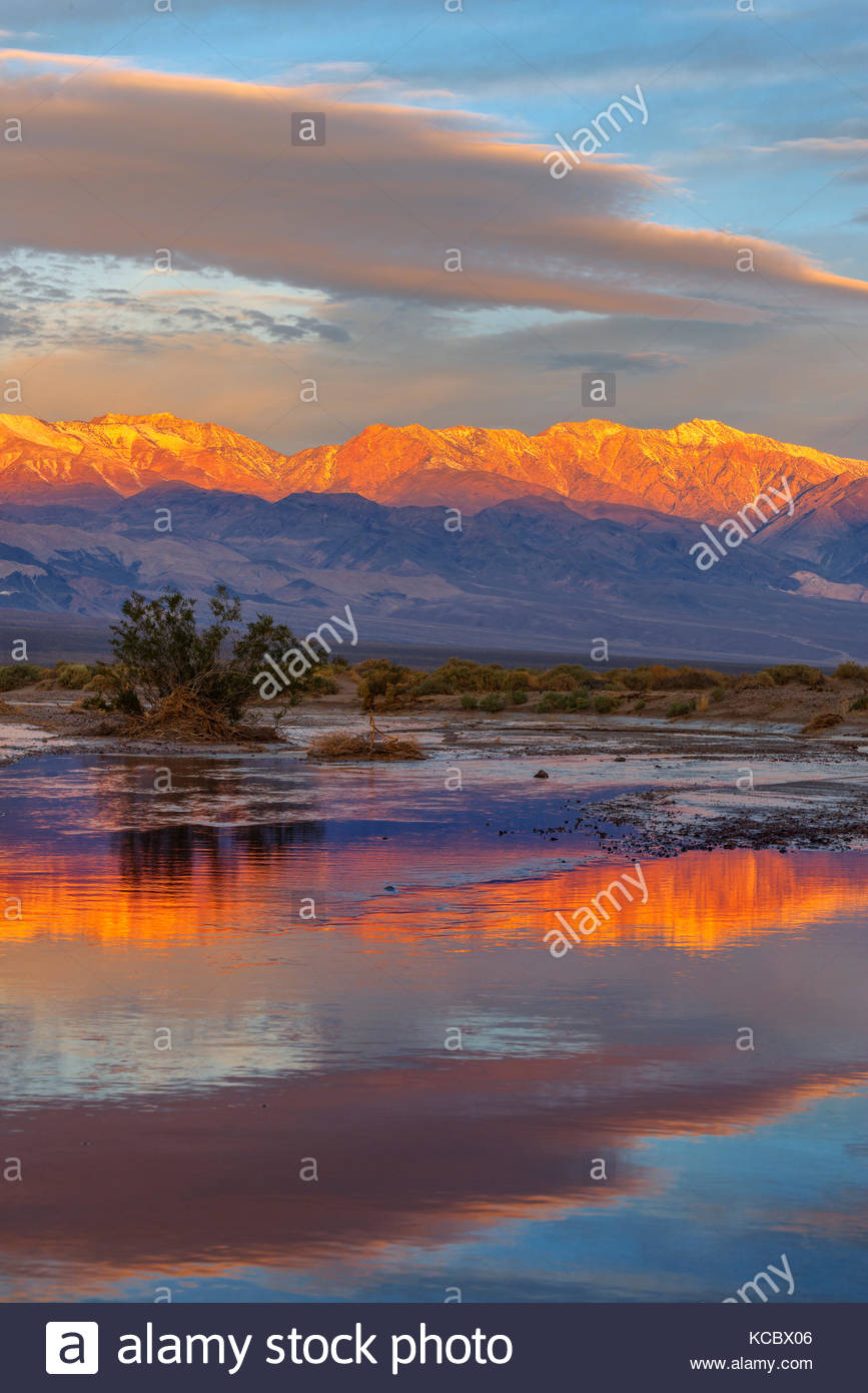 The Panamint Range and Amargosa River at Dawn, Death Valley National Park, California - Stock Image