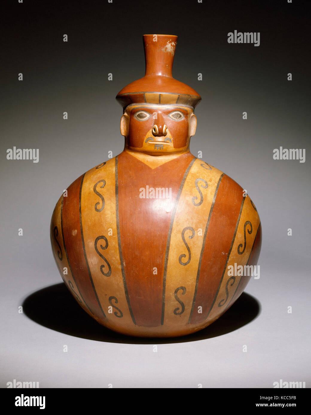 Figure Vessel, 6th–9th century, Peru, Wari, Ceramic, H. 15 in. (35.1 cm), Ceramics-Containers - Stock Image