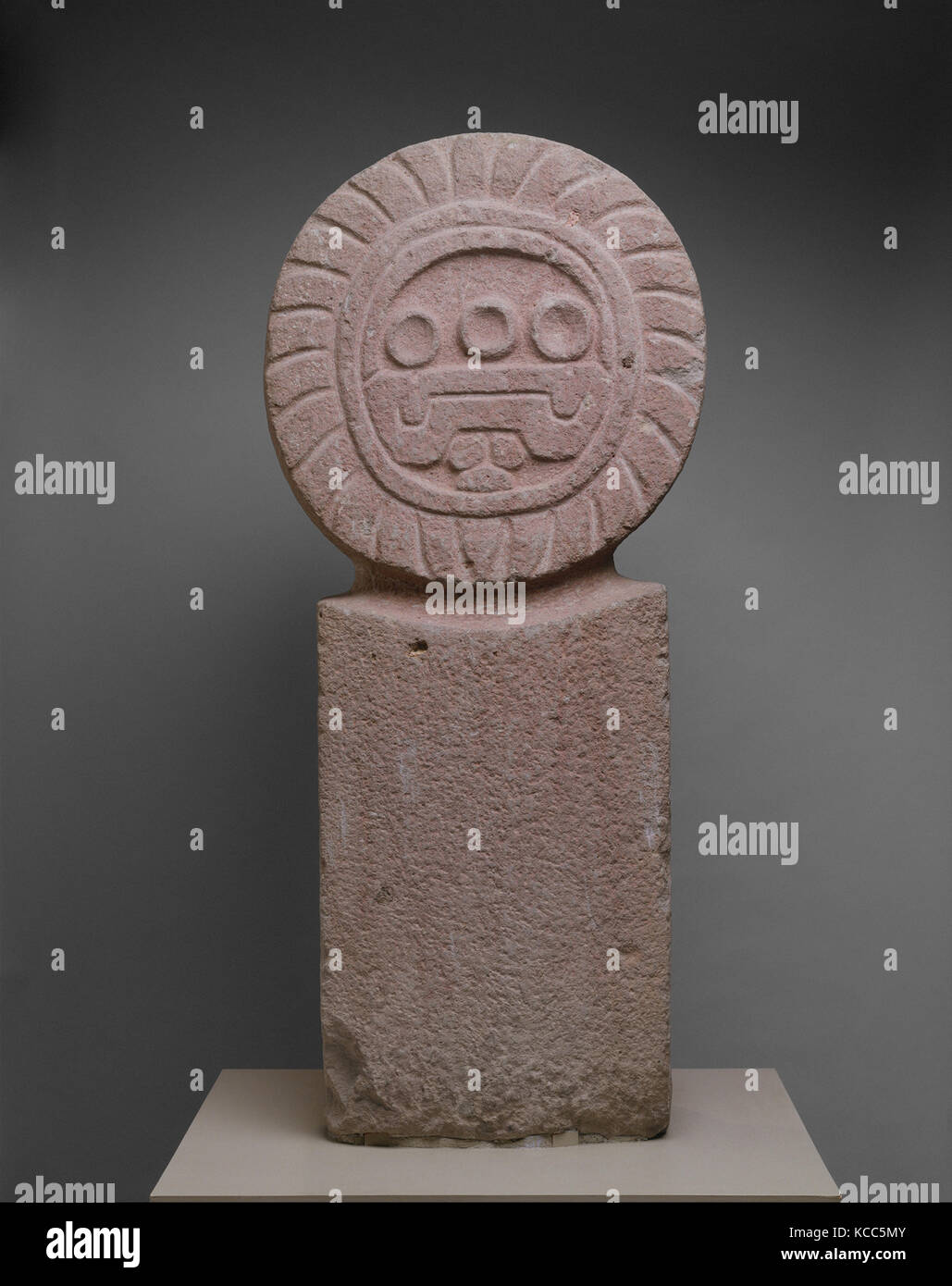 Stela, 3rd–7th century, Mexico, Mesoamerica, Teotihuacan, Stone, H. 41 3/4 x W. 14 3/4 x D. 8 in. (106 x 37.5 x - Stock Image