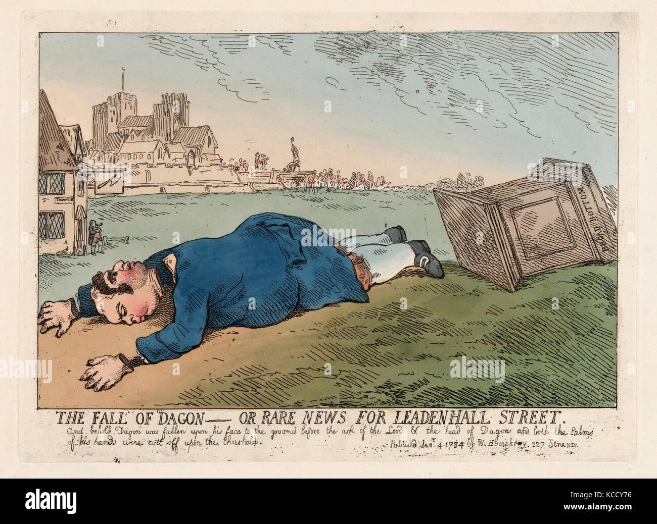 The Fall of Dagon, rare news for leadenhall street. Historical British caricature - Stock Image