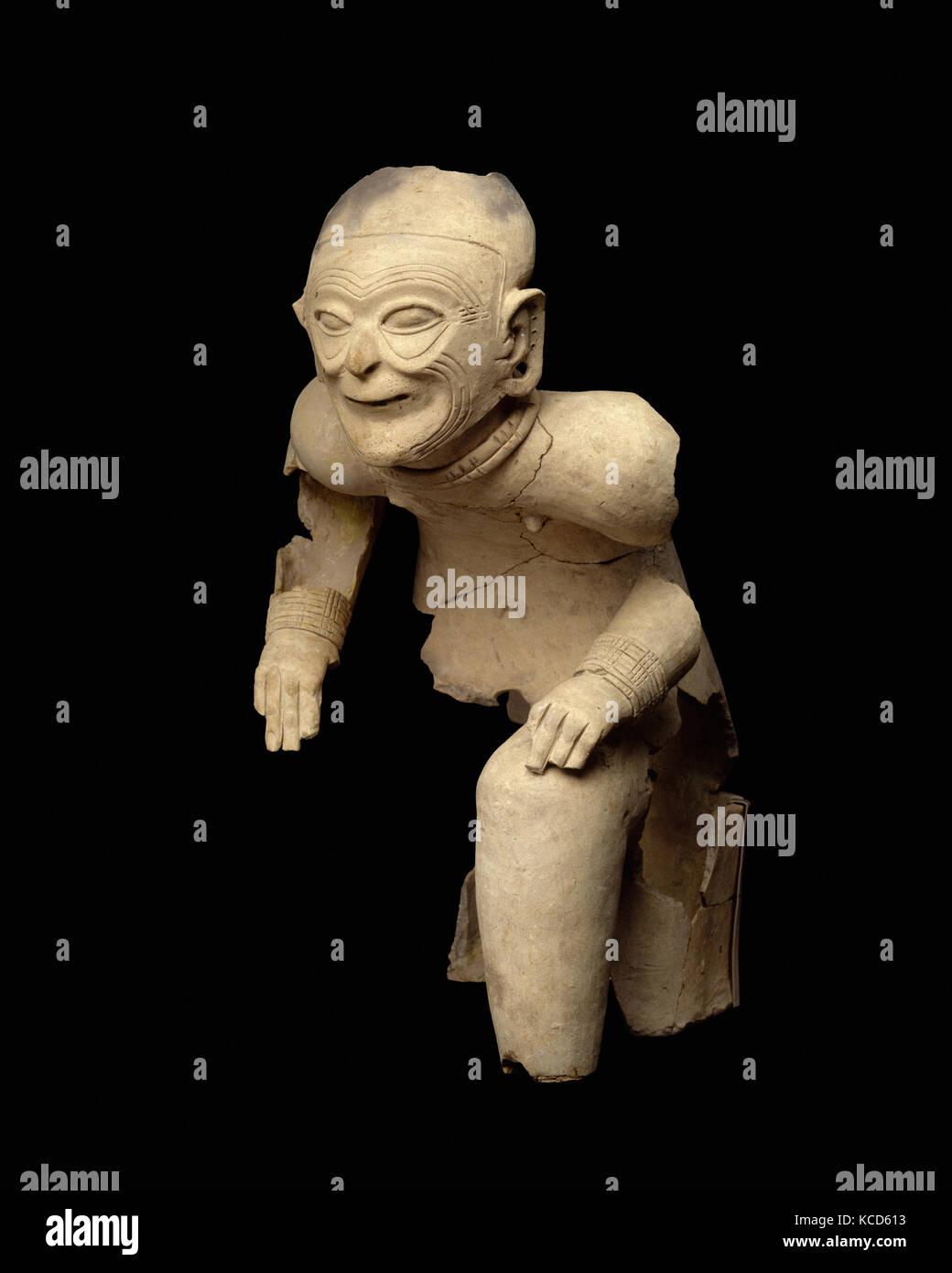 Seated Figure, 1st century B.C.–A.D. 1st century, Colombia or Ecuador, Tolita-Tumaco, Ceramic, H. 25 x W. 14 1/2 - Stock Image