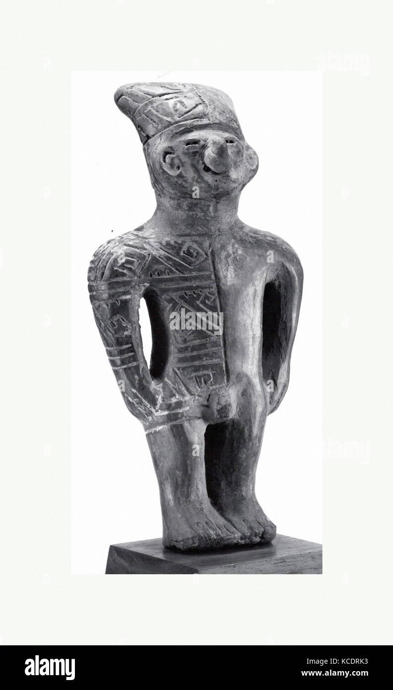 Standing Ceramic Male Figure, 6th–11th century, Ecuador, Manteno, Ceramic, H. 8 1/4 x W. 3 in. (21 x 7.6 cm), Ceramics - Stock Image