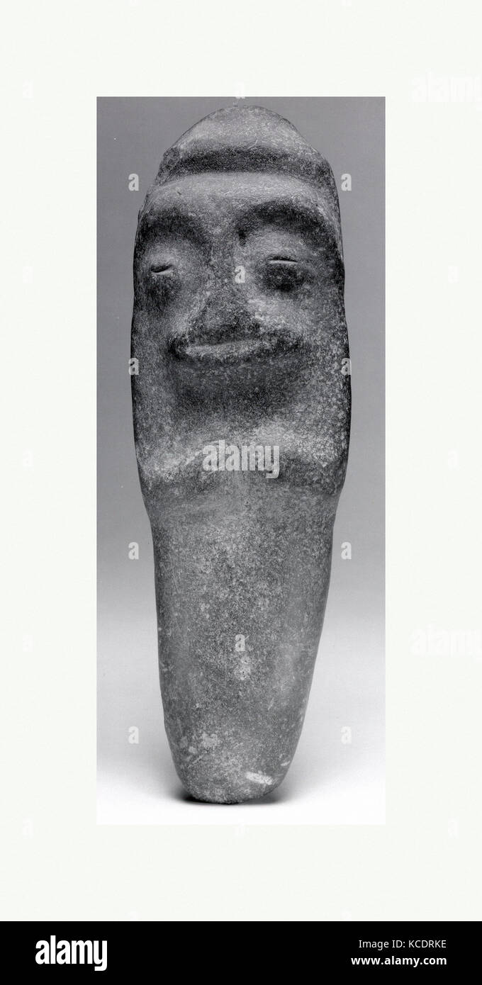 Axe, Human Form, 10th–15th century, Dominican Republic, Caribbean, Taino, Stone, Height 10-1/2 in. (26.7 cm), Stone - Stock Image