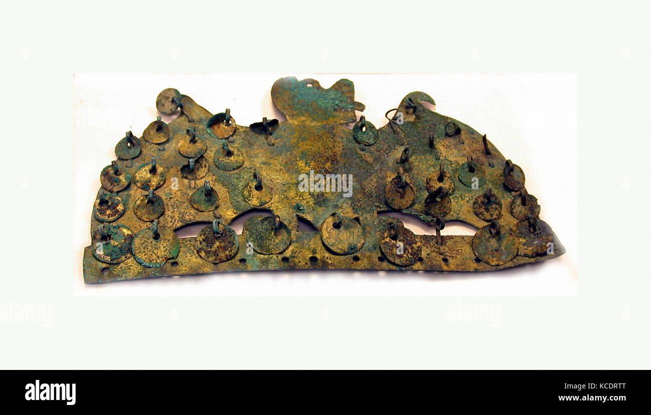 Animal Ornament, 390–450, Peru, Moche (Loma Negra), Gilded copper, H. 3 1/4 x W. 5 9/16 in. (8.3 x 14.2 cm), Metal - Stock Image
