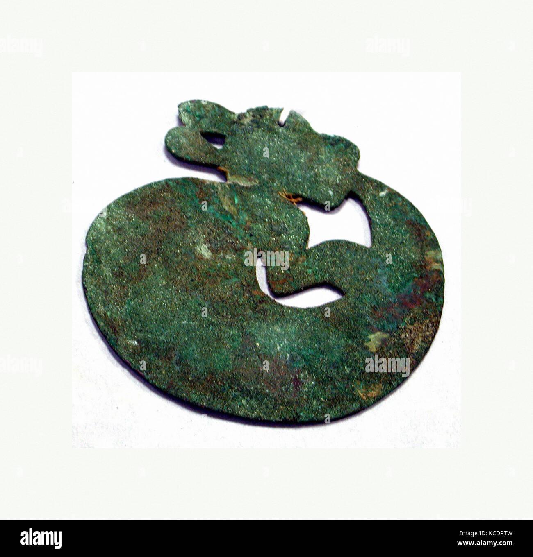 Copper Animal Disk, A.D. 200–900, Peru, Peruvian, Copper, gilt (?), Diameter 4-1/4 in. (10.7 cm), Metal-Ornaments - Stock Image