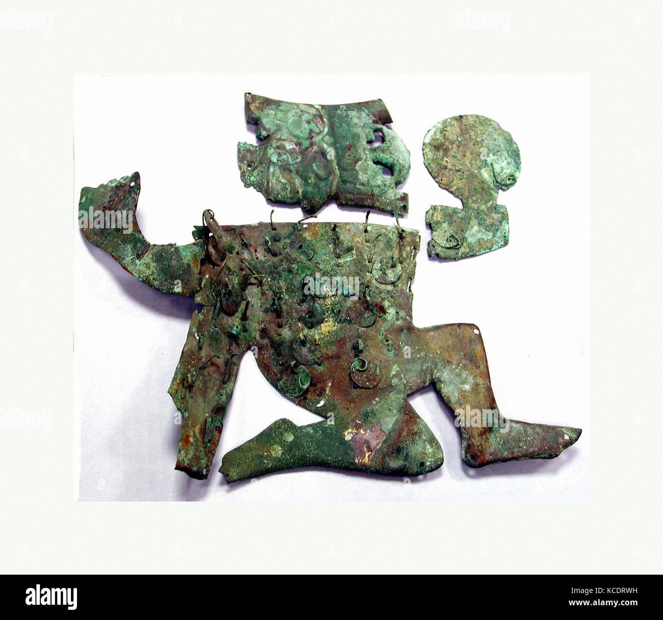 Profile Warrior Ornament, 390–450, Peru, Moche (Loma Negra), Silvered copper, Height 10-1/16 in. (25.5. cm), Metal - Stock Image