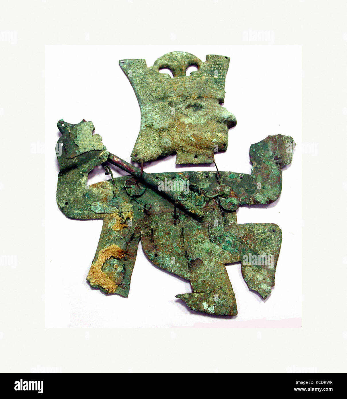 Profile Warrior Ornament, 390–450, Peru, Moche (Loma Negra), Silvered copper, Height 8-1/4 in. (21 cm), Metal-Ornaments - Stock Image