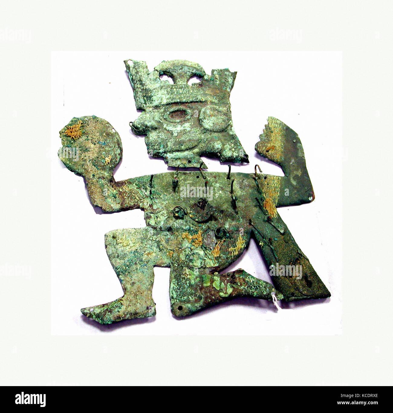 Profile Warrior Ornament, 390–450, Peru, Moche (Loma Negra), Silvered copper, Height 6-11/16 in. (17 cm), Metal - Stock Image