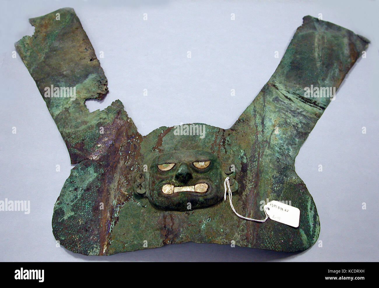 Headdress Ornament, 390–450, Peru, Moche (Loma Negra), Silvered copper, shell, turquoise, H x W: 18 1/2 x 23 1/4in. - Stock Image