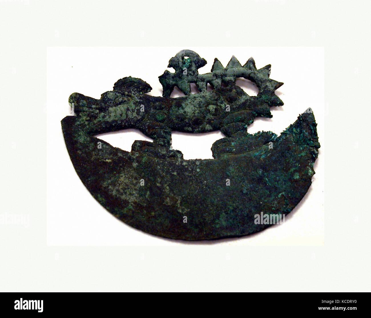 Animal Ornament, 390–450, Peru, Moche (Loma Negra), Copper, H x W: 2 11/16 x 3 1/8in. (6.8 x 8cm), Metal-Ornaments - Stock Image