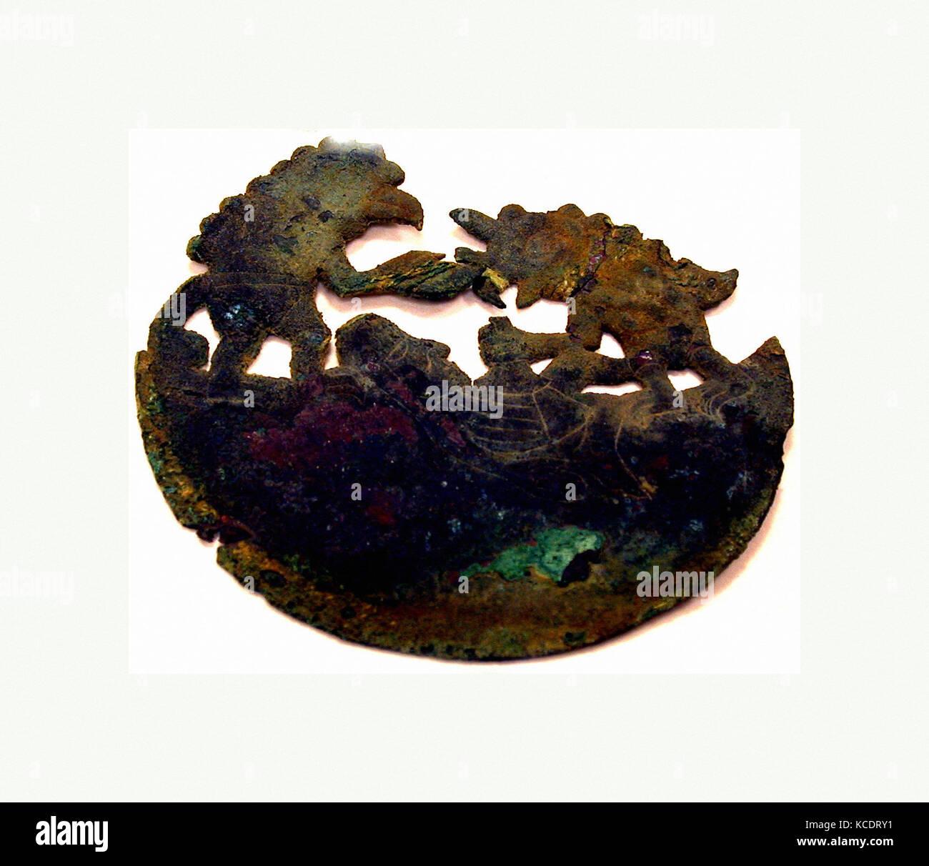Animal Ornament, 390–450, Peru, Moche (Loma Negra), Copper, H. 3 7/8 x W. 4 1/8 in. (9.8 x 10.5 cm), Metal-Ornaments - Stock Image