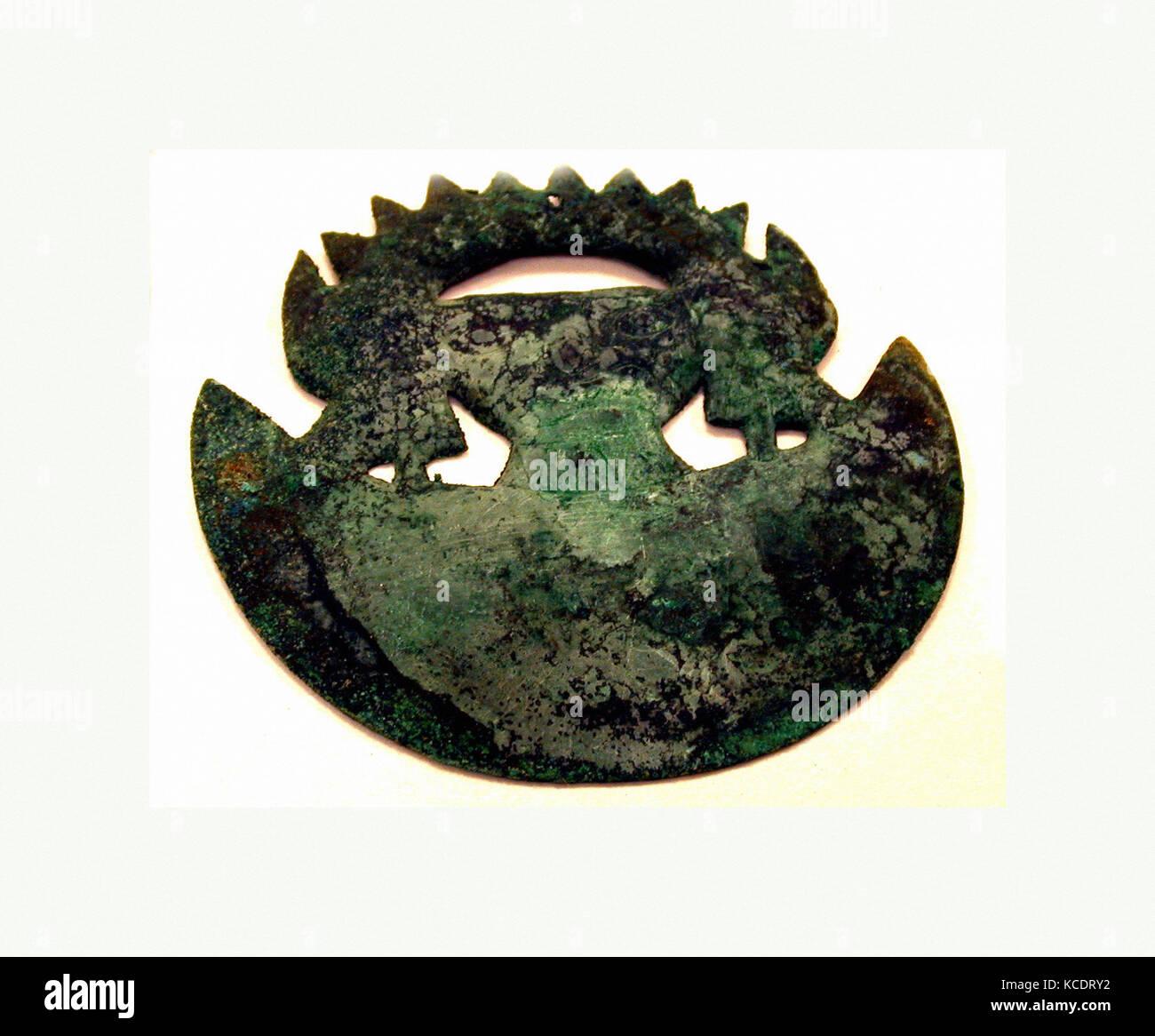 Animal Ornament, 390–450, Peru, Moche (Loma Negra), Copper, H x W: 3 15/16 x 4 1/8in. (10 x 10.5cm), Metal-Ornaments - Stock Image