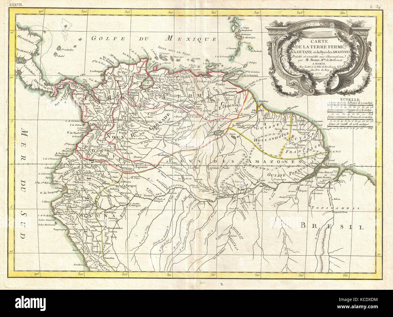1771, Bonne Map of Tierra Firma or Northern South America, Rigobert Bonne 1727 – 1794 - Stock Image