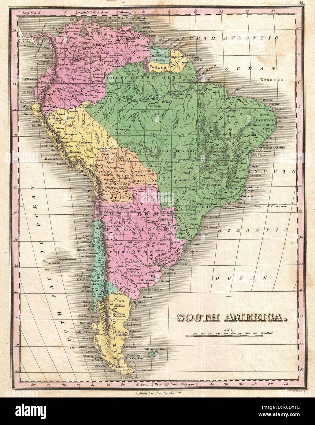 south america map 19th century stock photos