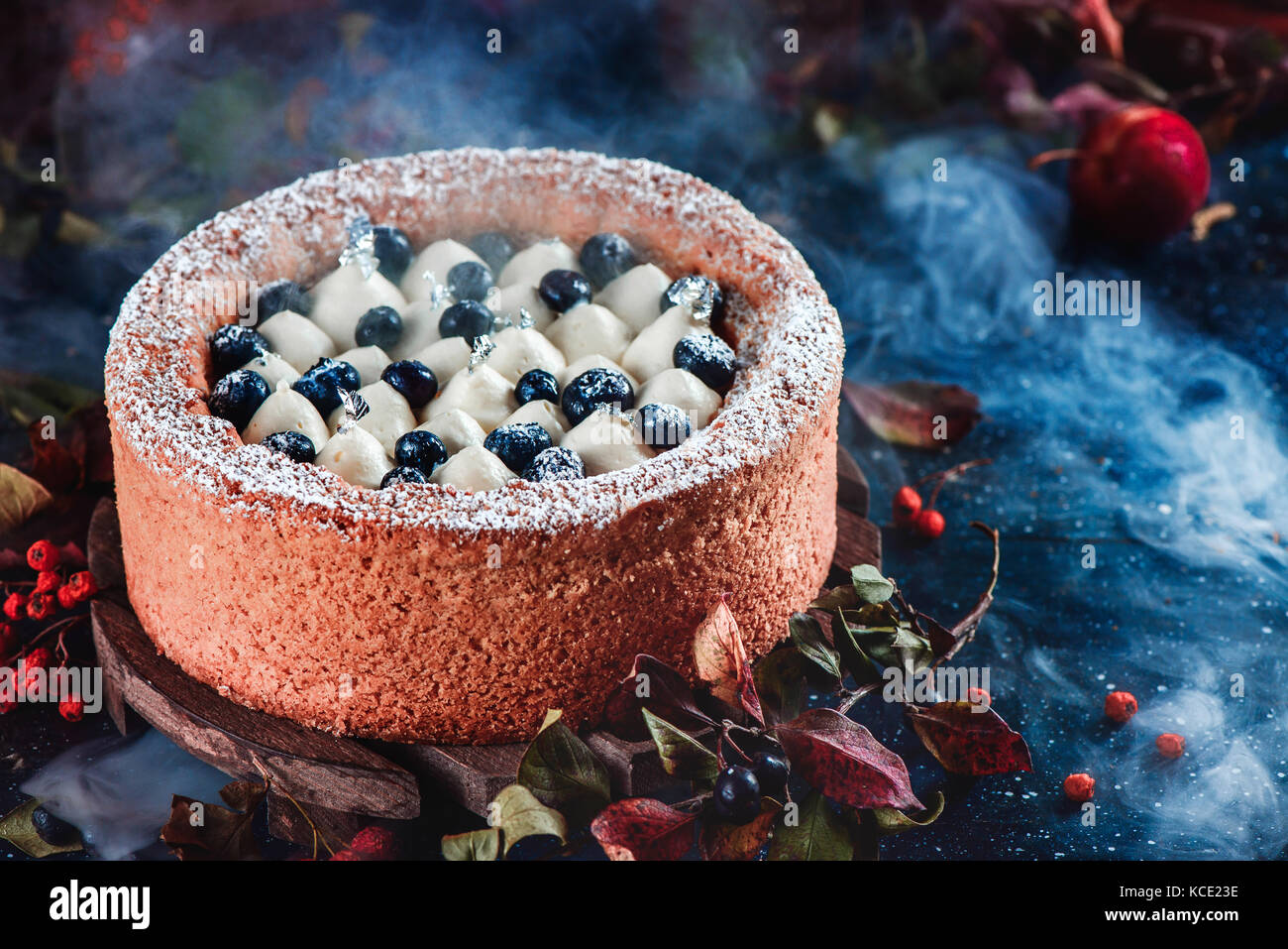 Whipped cream and blueberry cake with a shortbread crust on a dark background. Dark food photography with smoke. - Stock Image