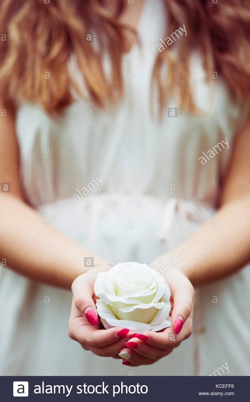 Girl holding a white rose - Stock Image