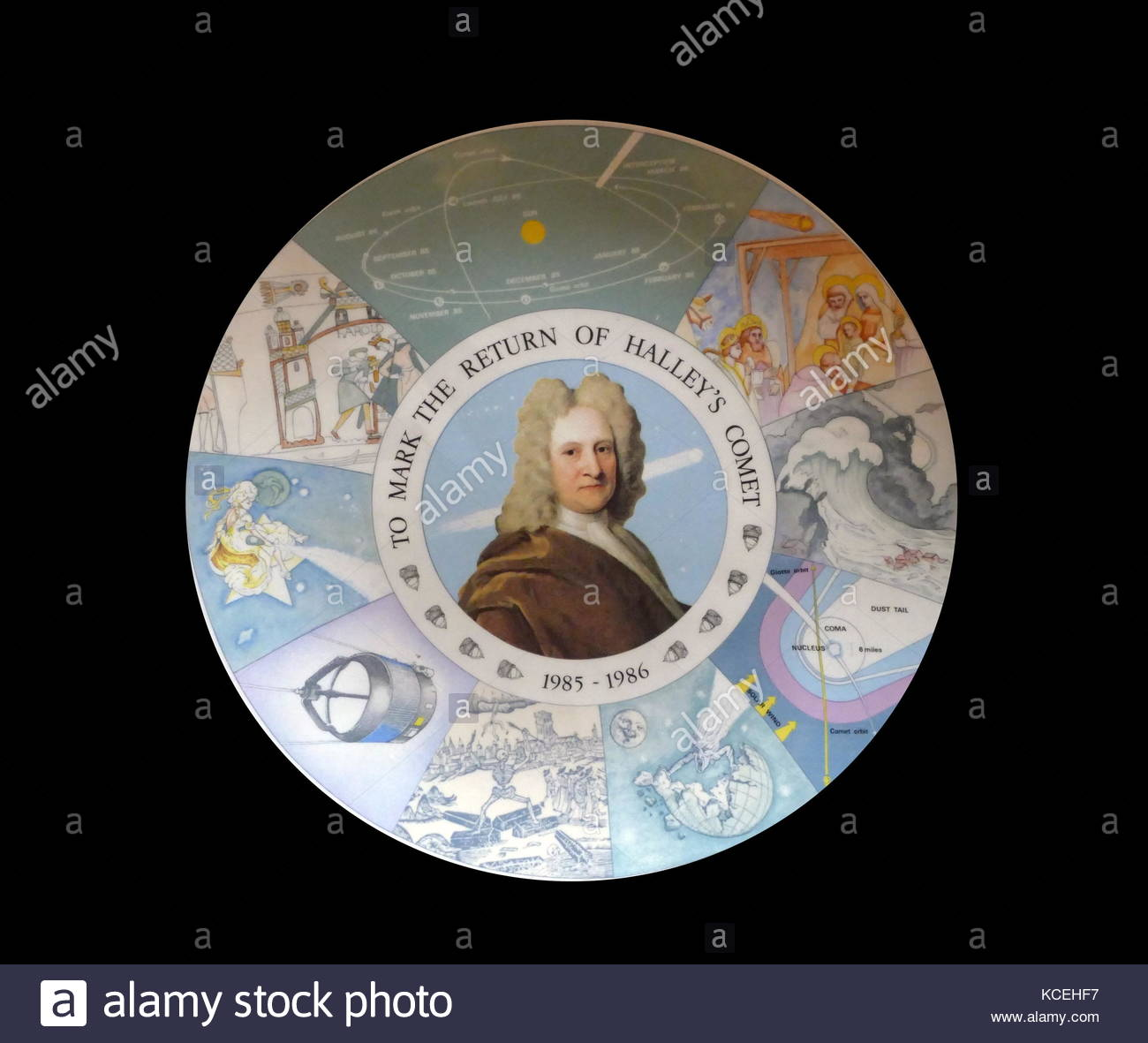 Portrait of Sir Edmund Halley on a commemorative plate to mark the return of Halley's Comet 185-86 - Stock Image