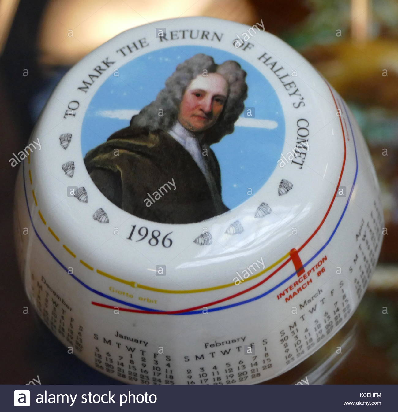Portrait of Sir Edmund Halley on a commemorative paperweight, to mark the return of Halley's Comet 185-86 - Stock Image