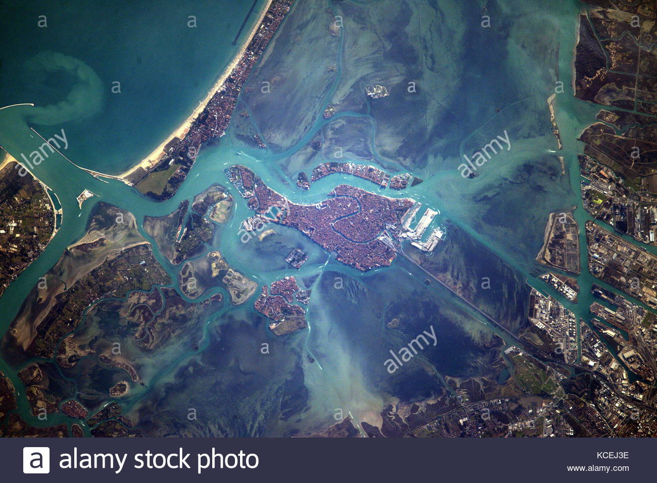 International Space Station on Feb. 14, 2017, writing, Venice, city of gondoliers - Stock Image