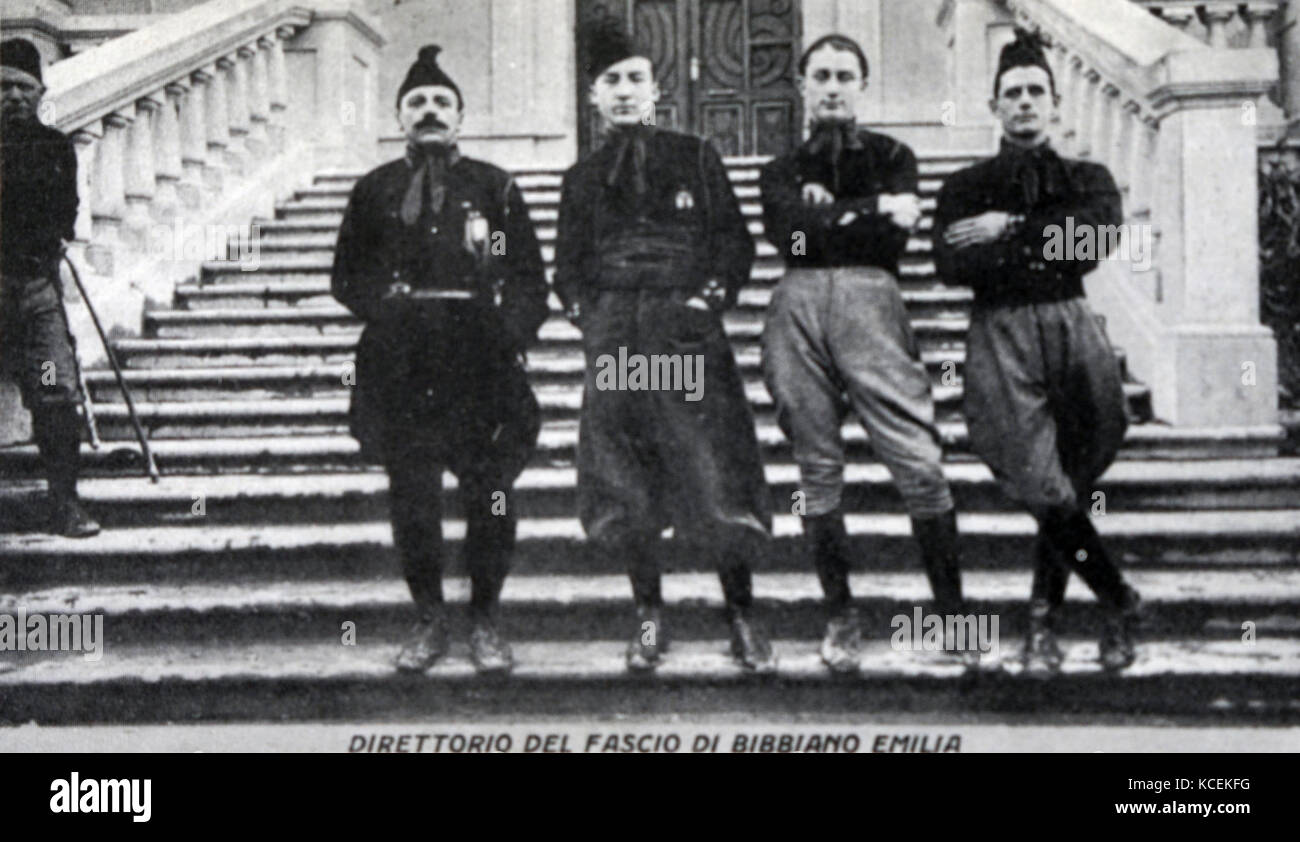 Photograph of Italian Blackshirts Fascist group in Rome. Dated 20th Century Stock Photo