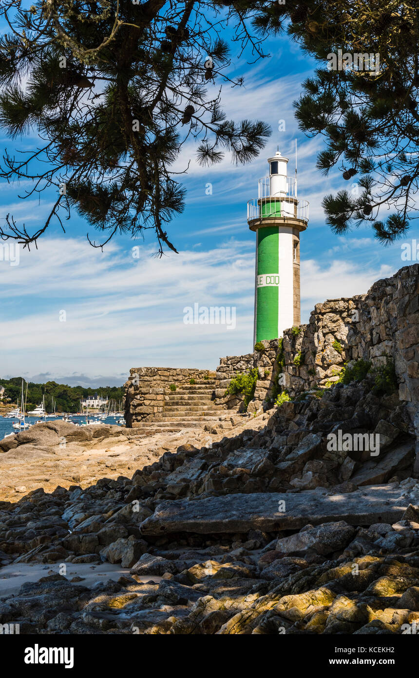 Lighthouse at Benodet, Brittany, France - Stock Image