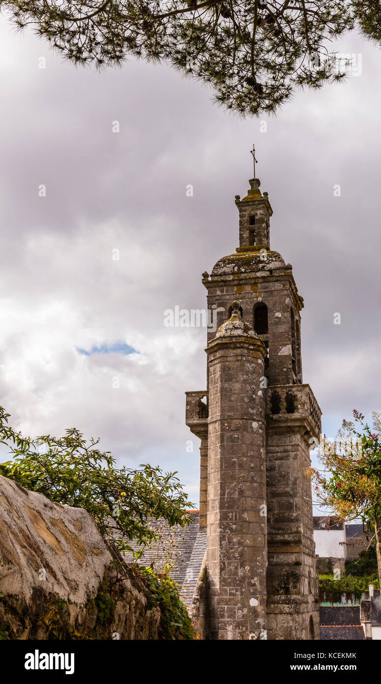 Stone tower to the church in Audierne, Brittany, France - Stock Image