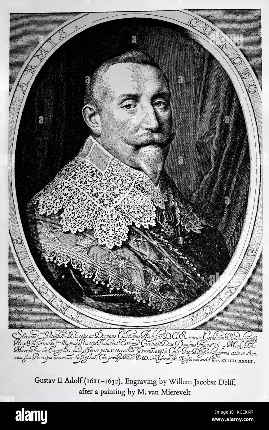 Engraved portrait of Gustavus Adolphus of Sweden (1594-1632) King of Sweden. Dated 17th Century - Stock Image