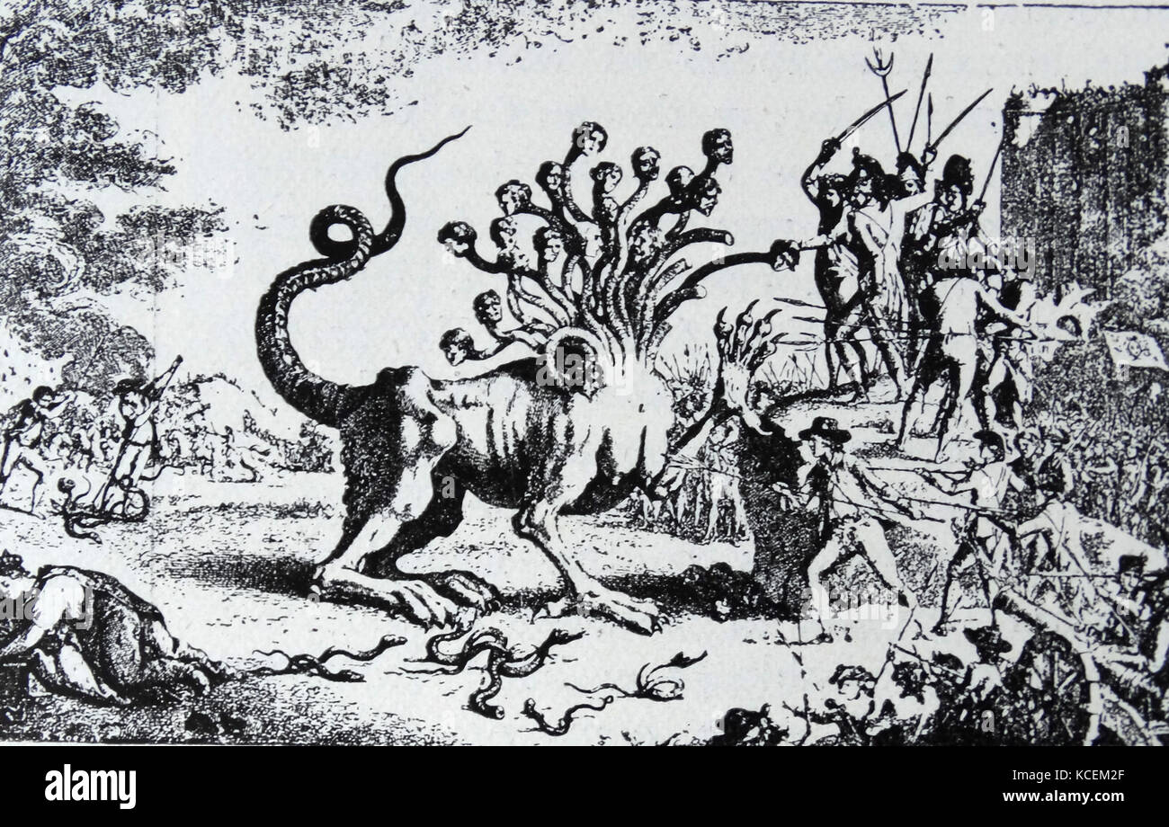 Spanish satire against the hydra of the aristocracy. Dated 18th Century - Stock Image